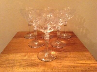 6 antique quality cut crystal 3 ring stem thistle pattern wine glasses NICE