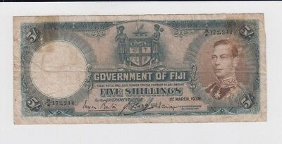 Fiji Paper Money one old note vg-fine stains
