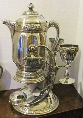 Regal Victorian Silverplate Wilcox Tilting Beverage Pitcher With 2 Goblets, Base