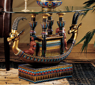 Ancient Egyptian Pharaoh Boat Barge Sculpture Table after tomb of Tutankhamen