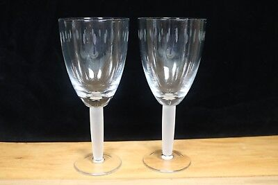 "Set of 2 WATER GOBLETS 8 1/2 "" Thick Frosted Stem Vertical Etched Lines on Bowl"
