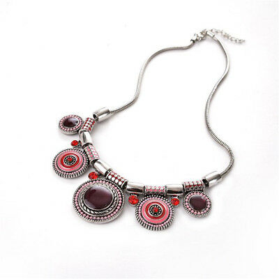 [XM] Fashion Ethnic Collares Colorful Necklace Vintage Silver Plated Beads