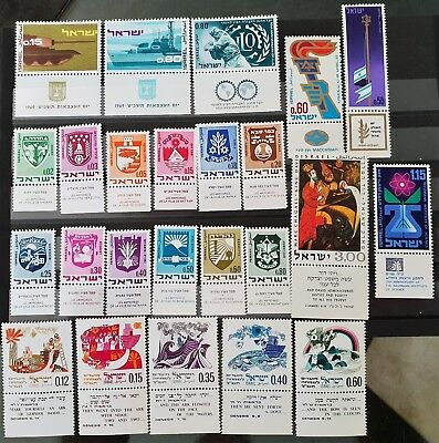 Israel 1969 Sc # 381 to Sc # 400 Mint MNH Stamps 8 Complete Sets With Tabs