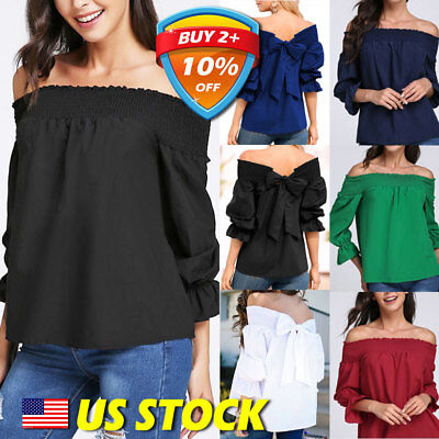 Women's Solid Off Shoulder Top Baggy Bow-knot Blouses Shirts Ladies Plus Size US