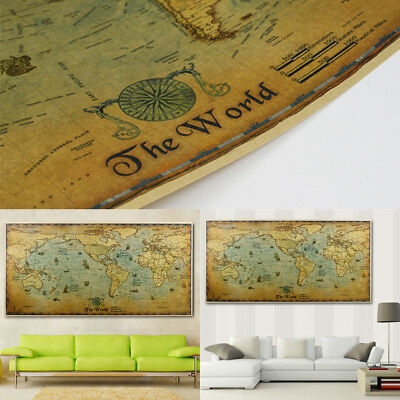 Vintage Style Nautical Chart Wide Version Kraft Paper Poster Indoor Cafe Decor
