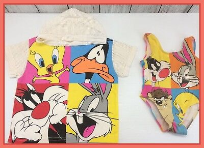 1994 Vintage Looney Tunes Toddler Swimsuit & Cover-Up Shirt Size 3T Bugs Tweety