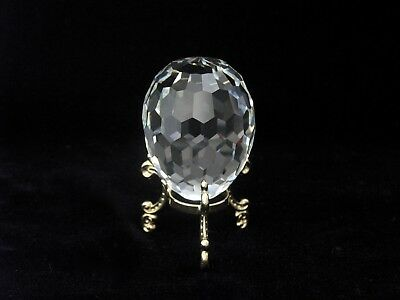 Swarovski Crystal Clear Faceted Egg Paperweight #7458 063 069 with Stand