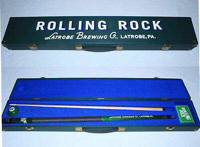 NEW Rolling Rock Pool Cue In Case Latrobe Brewing Co Pa With #33 Ball and Chalk