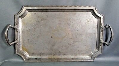 "24"" Huge Antique Victorian Silver-plated Brass Large Serving Tray Platter Ornate"