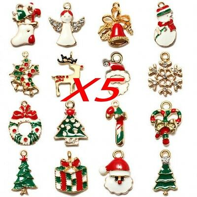 5PCS WHOLESALE MIXED Gold Christmas Gifts Charms For DIY Pendant ...