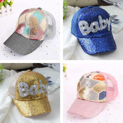 Kids Baby Girls Toddler Sequins Hat Cap Sun Beach Summer Baseball Bonnet Brim