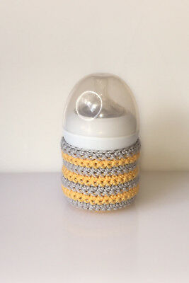 Crochet Baby Bottle Cover-Avent Natural 125ml/4fl oz-Baby Gift-Grey/Yellow