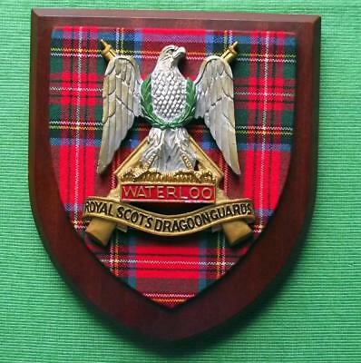 Vintage Scottish Oak Clan Royal Scots Dragoon Guards Tartan Plaque Crest Shield