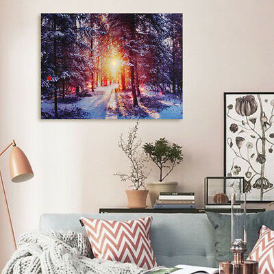 LED Light-up Winter Snow Forest Canvas Art Picture Print Home Wall Decor