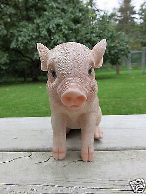 Small PIG 6 in.H X 7.5 in.L.PINK SITTING  animal farm piglet oinker resin PORKY