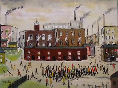 Original Impressionist Oil Painting John Goodlad Northern Art The Factory Gate B