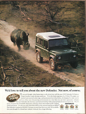 "1995 Land Rover Defender 90 Ad ""We'd love to tell you..."" Print Ad"