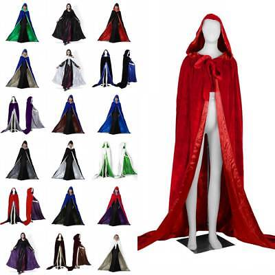 Hooded Cloak/Cape Halloween Medieval Wedding Pagan Witch-Various Colours 150CM