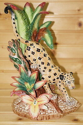 "Fitz & Floyd Exotic Jungle Leopard Candle Stick Holder, 10 3/4"", In Box"
