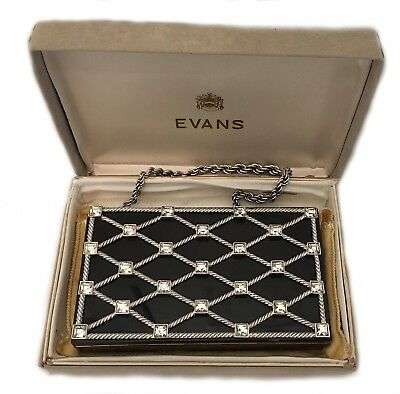 Vintage Evans Carry All Vanity Purse Black & Silver With Crystals