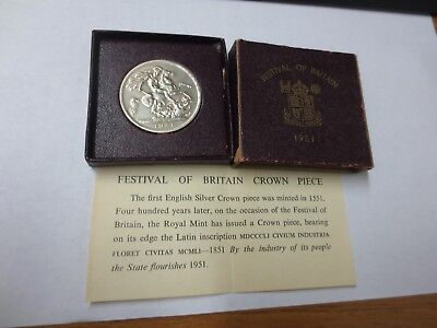 1951 Festival of Britain Five Shillings CROWN w/ Box & COA
