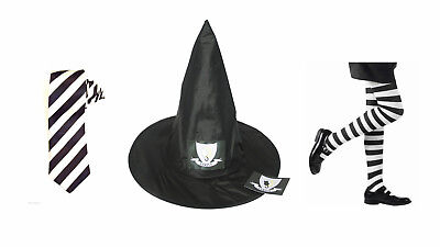 Halloween Mildred Hubble Witch Hat Tie Strive Sticker Badge Tights Age 4-14