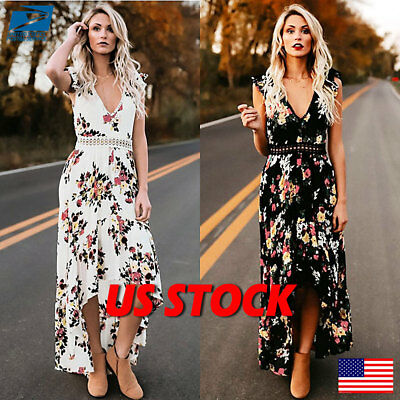712a7b0dfd3 Womens Sexy Floral Sleeveless Plunge-neck Backless Waist Boohoo Maxi Dresses  US