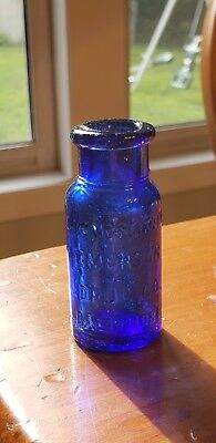 "Antique Cobalt Blue Bromo Seltzer Emerson Drug Co Baltimore,MD Bottle 2.5"" Tall"