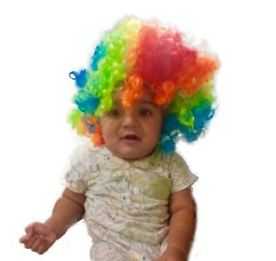 Unisex Afro Curly Wig Fancy Clown Disco Funny Funky Colour Wigs Dress Party