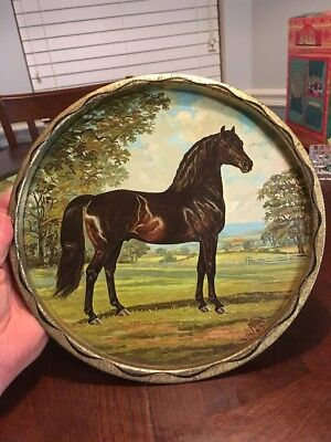 Morgan Horse Round Metal Tray Signed Jeanne Mellin 1966