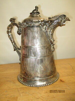 "c1863 KAUFMANN PHILA EAGLE REPOUSSE SILVERPLATE 13"" PITCHER FIGURAL GRIFFIN RARE"