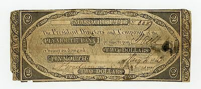 1843 $2 The Plymouth Bank - MASSACHUSETTS (CTFT.) Note