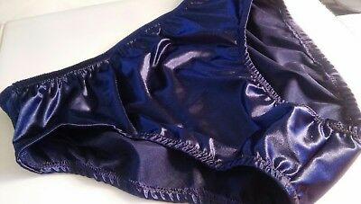 Mens stretch Satin Panties Classic Brief  full Custom side Handmade USA Nu Navy