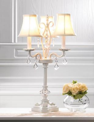 shabby elegant white crystal chandelier CANDELABRA electric table LAMP & shades