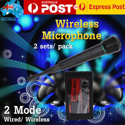 2Sets Pro Wireless Microphone Cordless System Wired Professional Karaoke MIC KTV