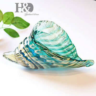 Handmade Glass Rainbow Conch Art Crafts Glass Blown Wedding Home Figurines Gifts