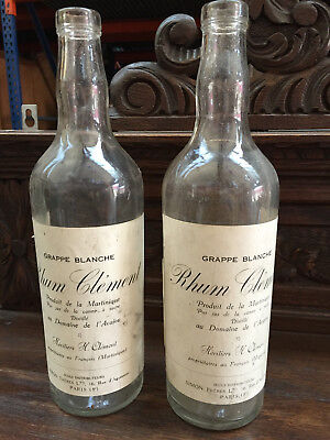 04902 old Glass french pair of bottle Rhum Clément Martinique 1930