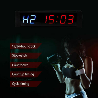 LED Interval Timer Programmable Stopwatch Home Gym Crossfit Fitness Sport Clock