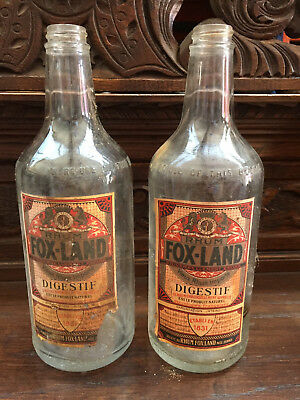 04903 Rhum Fox Land France pair of deco bottles 1930