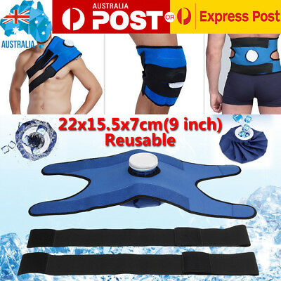 Therapy Ice Bag Pack Pain Relief Cold Broad Knee Shoulder Injuries w/ Strap Wrap
