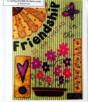 Friendship is the Thread applique mini quilt wallhanging pattern card