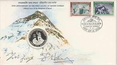 NEPAL 1978 25th Anniversary of Ascent of EVEREST FDC signed HILLARY & TENZING