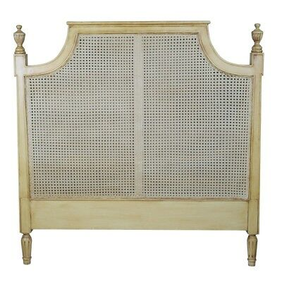 French Antique Style 4ft 6in Double or 5ft Kingsize Rattan & Mahogany Headboard