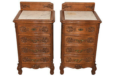 Antique Pair of French Renaissance Nightstands, Marble Top, Oak, 1920's