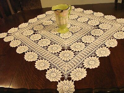 Vintage white cotton hand crochet lace, tablecloth 34 inches square