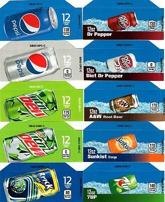 10 Pepsi Mixed Set 12oz Can Small Button Flavor Labels For Soda Vending Machines
