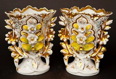 Pair Old Antique Paris Porcelain Hand Painted Flared Vases Gilt Gold Floral