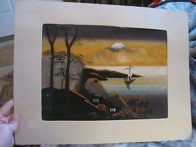 vintage Japanese silk? screen painting matted
