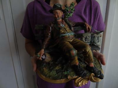 """Vintage Capodimonte Figurine of an Old Drunk on Bench with Birds 10.5"""" 3.3kg"""