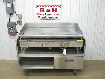"Keating 48"" Nat Gas 4' Griddle Flat Miraclean Top 48BFLD w/ Delfield Grill Stand"